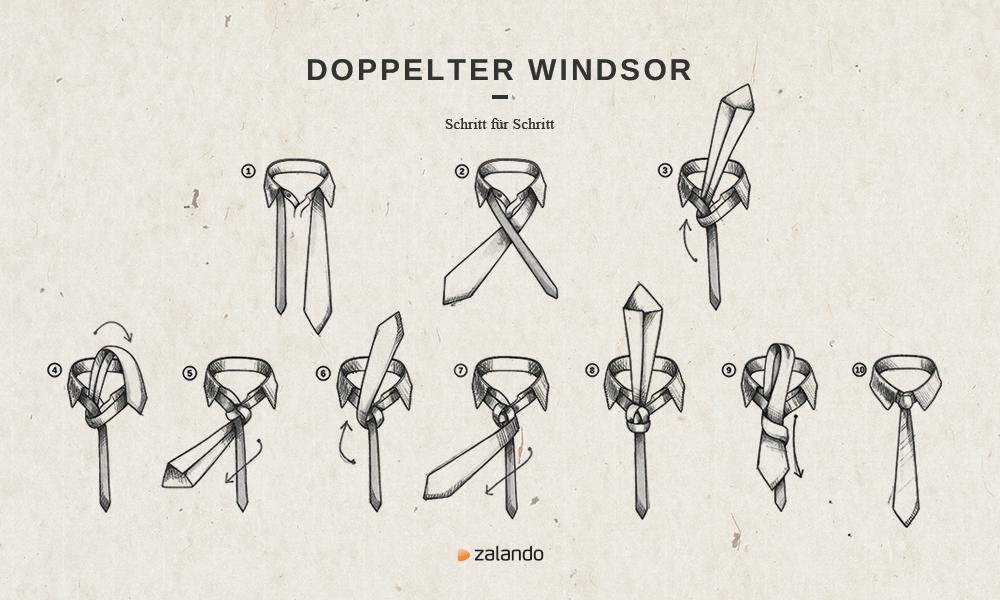 Krawattenknoten Doppelter Windsor Knoten Binden Anleitung Wohn Design